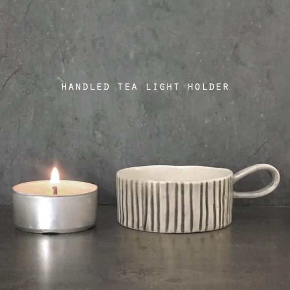 East of India Handled Tea Light Holder - Scratched Lines