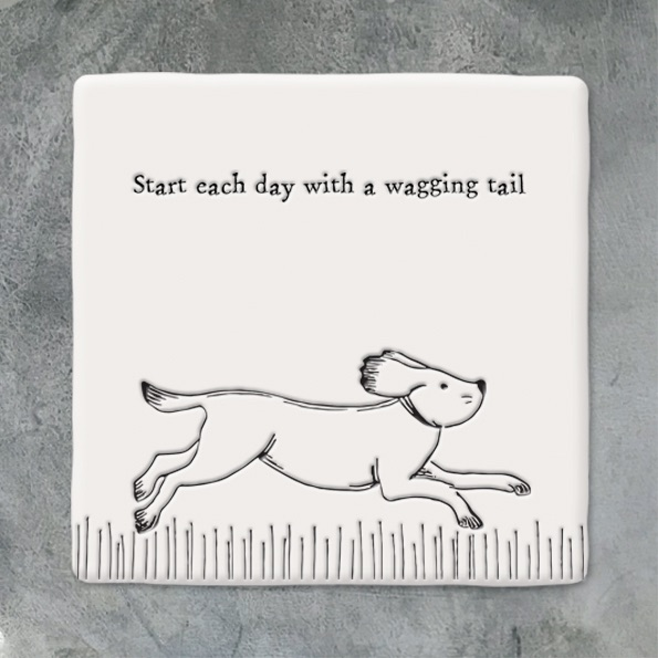 East of India Square coaster - Start each day with a wagging tail