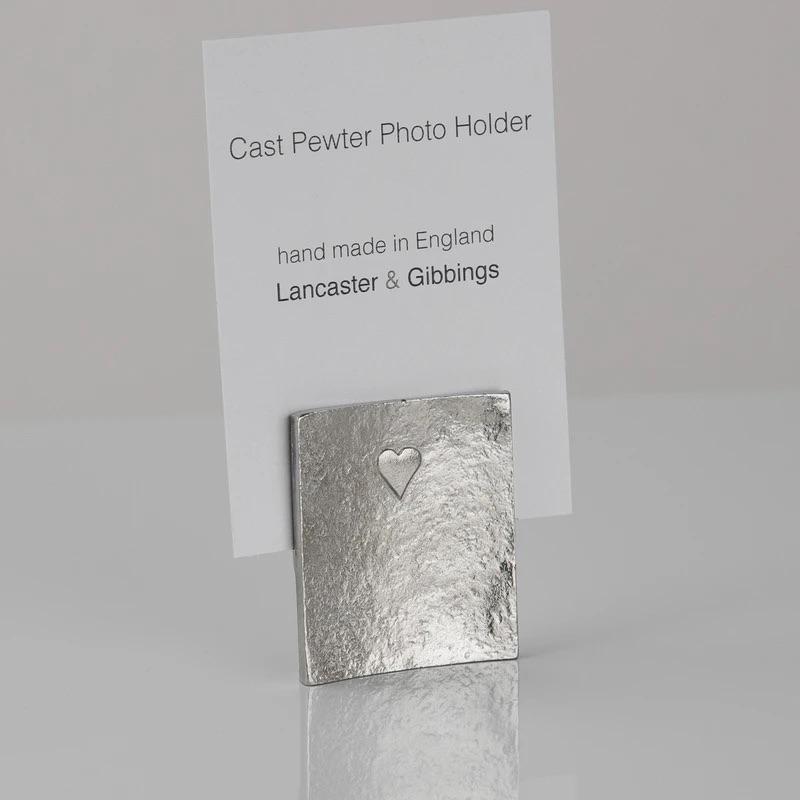 Lancaster & Gibbings Heart Photo Holder - small 40mm high