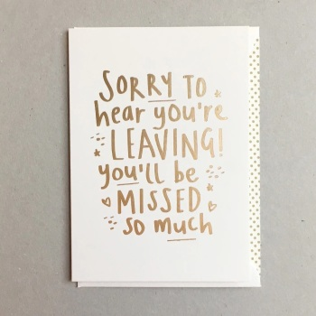 Megan Claire - Sorry to hear you are leaving!