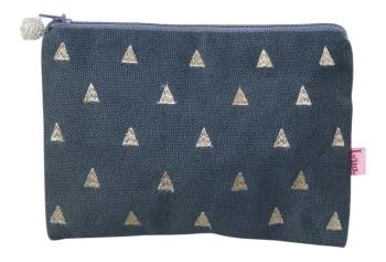 Lua Canvas coin purse - Blue triangles