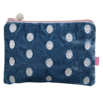 Lua Velvet Coin/Cosmetic Purse - Embroidered dots (Blue)