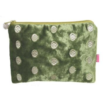 Lua Velvet Coin/Cosmetic Purse - Embroidered dots (Green)