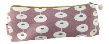 Lua Canvas Pencil Case/Cosmetic Purse - Pink ovals