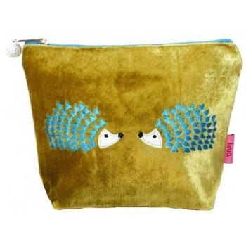 Lua Velvet Small Cosmetic Bag - Hedgehogs