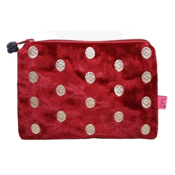 Lua Velvet Coin/Cosmetic Purse - Embroidered dots