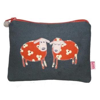 Lua Canvas coin purse - Sheep (orange on grey)