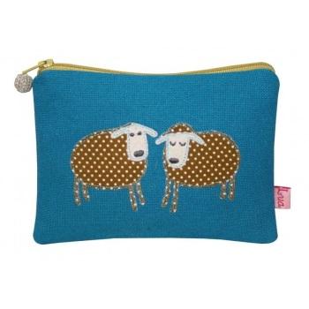 Lua Canvas coin purse - Sheep (khaki on turquoise)
