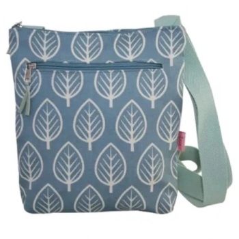 Lua Small Messenger Bag - Blue leaf