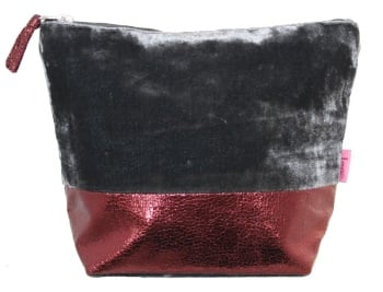 Lua Large Cosmetic Bag - Grey Velvet/Red Sparkle fabric
