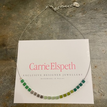 Carrie Elspeth - Green 'Cubed' Necklace
