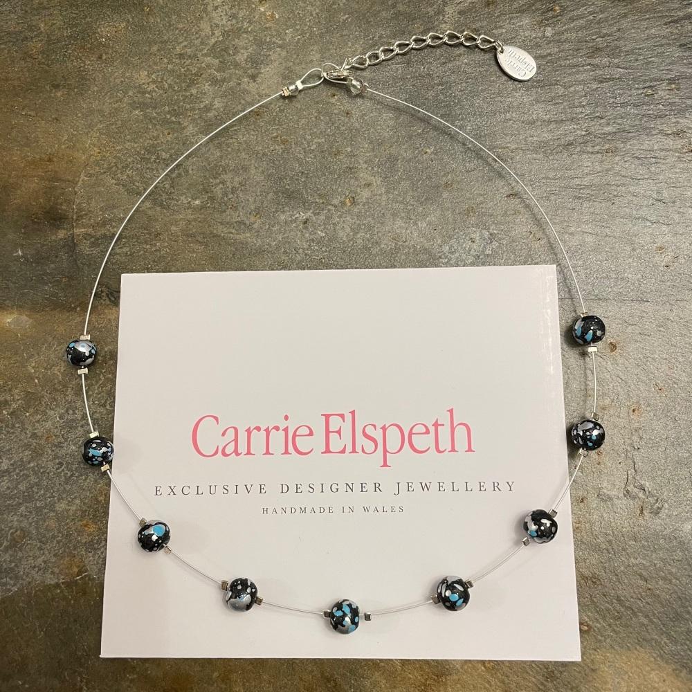 Carrie Elspeth - Blue/Black Marble Shimmer Necklace