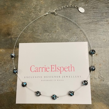 Carrie Elspeth - Blue/Black Marble Shimmer Necklace