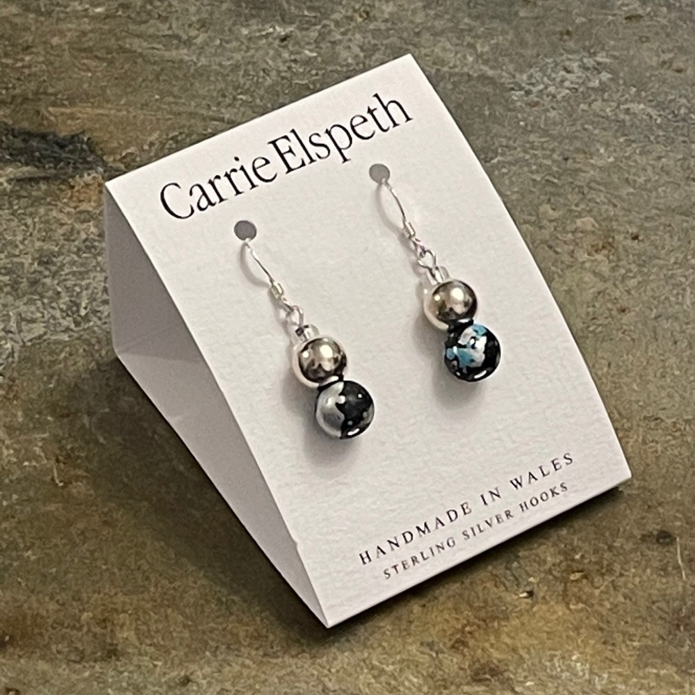 Carrie Elspeth - Blue/Black Marble Shimmer Earrings