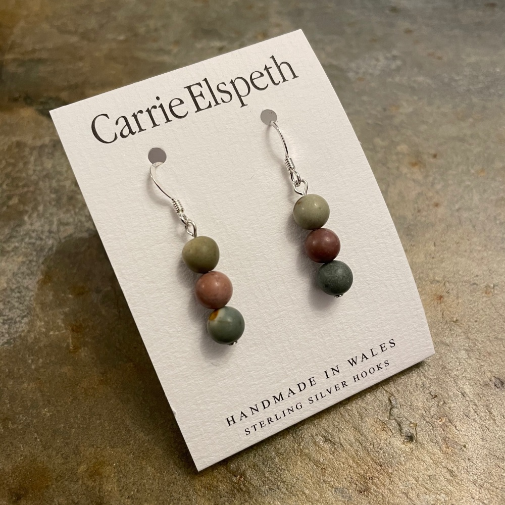 Carrie Elspeth - Agate earrings (Light brown)