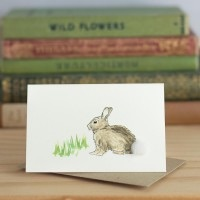 Penny Lindop Mini Card - Rabbit with grass