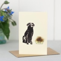 Penny Lindop Mini Card - Black Labrador with food
