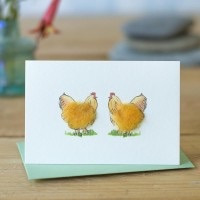Penny Lindop Mini Card - Chickens (Buff Orpingtons)