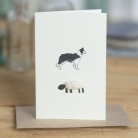 Penny Lindop Mini Card - Collie and sheep