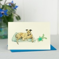 Penny Lindop Mini Card - Greyhound with toy