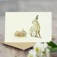 Penny Lindop Mini Card - Hare with Leveret