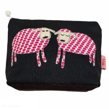 Lua Small Canvas Cosmetic Bag - Navy 2 Sheep
