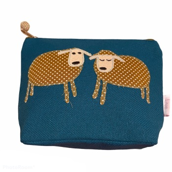 Lua Small Canvas Cosmetic Bag - Teal 2 Sheep