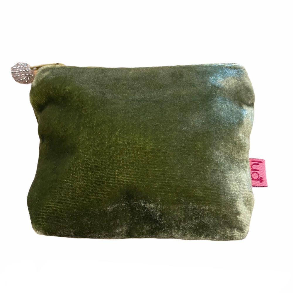 Lua Small Velvet Purse - Green