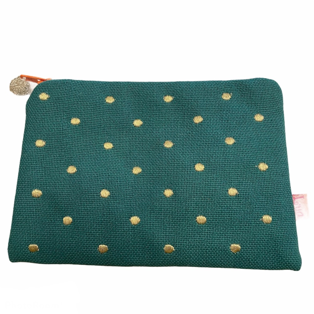 Lua Canvas coin purse - Turquoise with metallic spots
