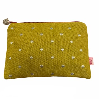 Lua Canvas coin purse - Yellow ochre with metallic spots