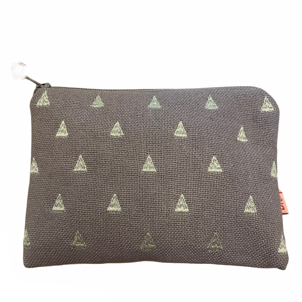 Lua Canvas coin purse - Pale lilac triangles
