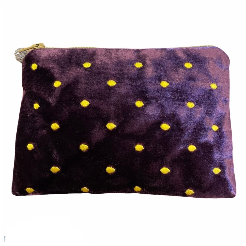 Lua Velvet Coin/Cosmetic Purse - Deep Rose with small metallic embroidered