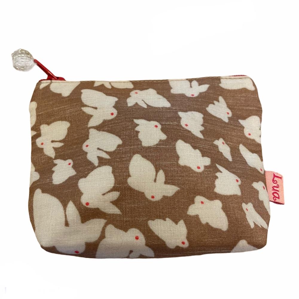 Lua Small Fabric  Purse - Brown Rabbits