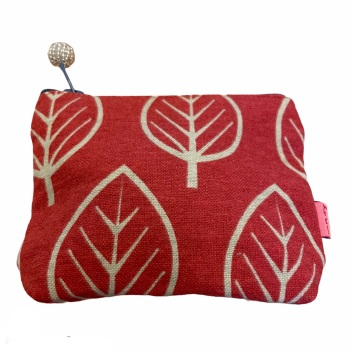 Lua Small Fabric  Purse - Red Leaves