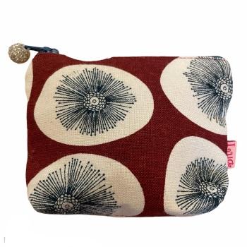 Lua Small Fabric  Purse - Red Dandelions