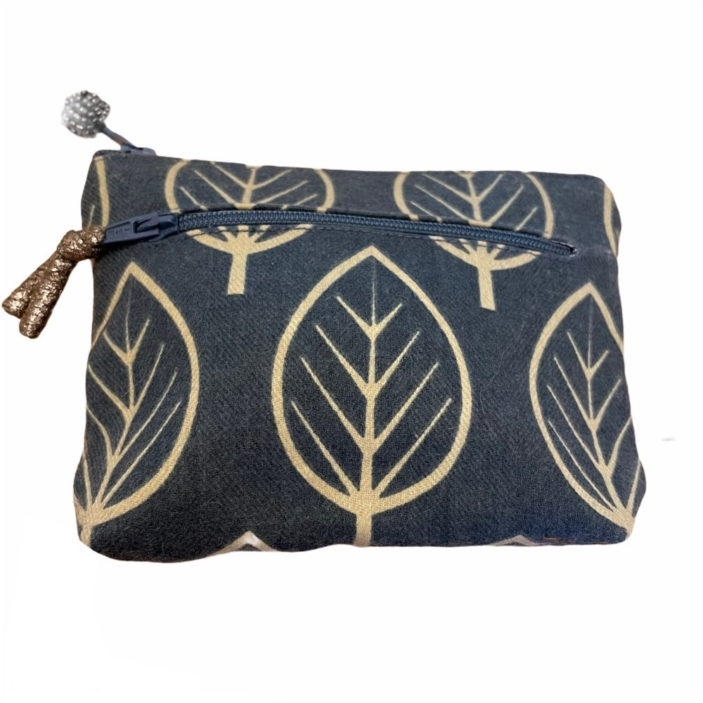 Lua 2 zip  Purse - Blue Leaves