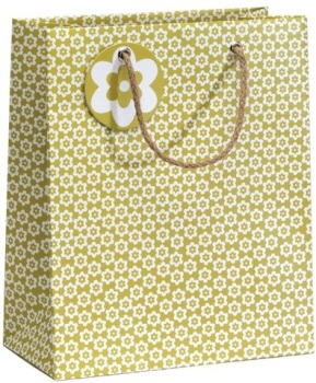 Cinnamon Aitch Medium Gift Bag - Green Ditsy