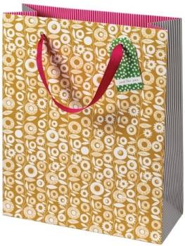 Cinnamon Aitch Large Gift Bag - Mustard Pattern