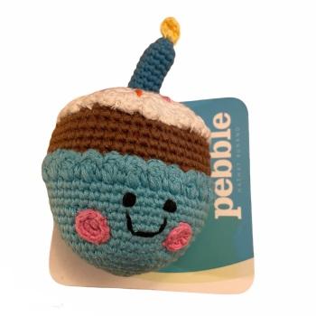 Best Years Pebble Crochet Rattle - Blue Birthday Cake