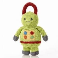 Best Years Pebble Crochet Rattle - Robot (Green)