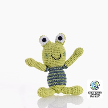 Best Years Pebble Crochet Rattle - Frog (Green with stripy body)