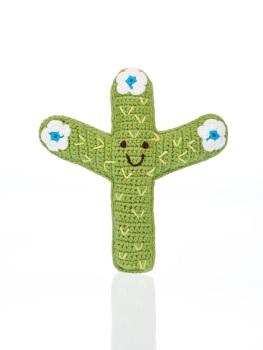 Best Years Pebble Crochet Rattle - Cactus (White Flower)