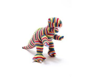 Best Years Knitted Dinosaur - Stripy T Rex