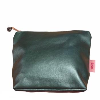 Lua Small Metallic Fabric Cosmetic Bag - Ocean Green