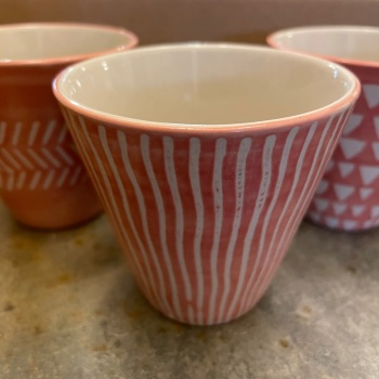 Sass and Bell - Single pink planter (Stripes)