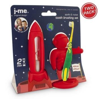 J-me Apollo and Rocket Toothbrushing set - Red