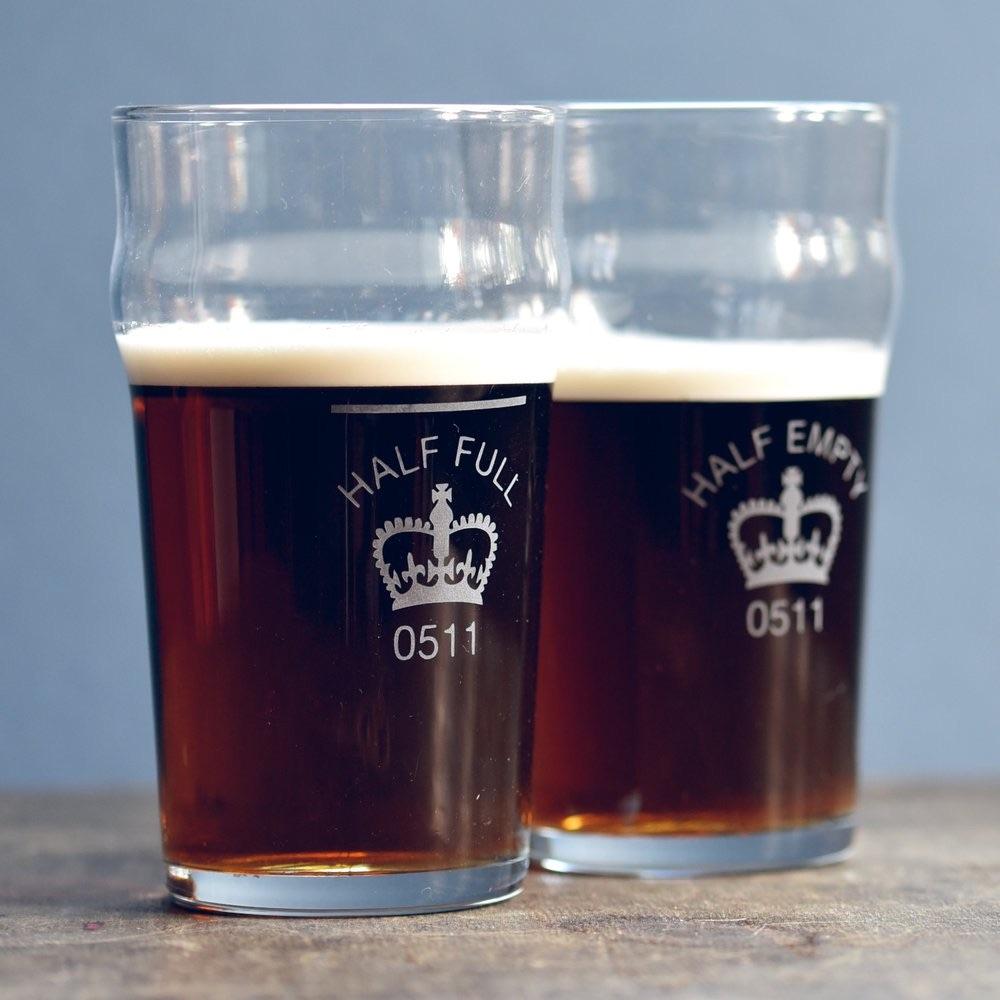 Vinegar & Brown Paper Beer Glass - Half Full