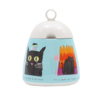 ECP Jane Ormes Sugar pot and spoon - Thinking cat