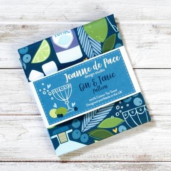 Joanna de Pace Tea Towel - Gin and Tonic pattern