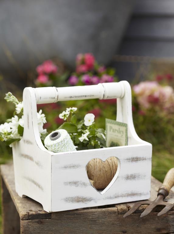 Retreat Home - White Wooden Heart Trug